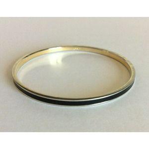 Monet Thin Silver Black Enamel Bangle Bracelet